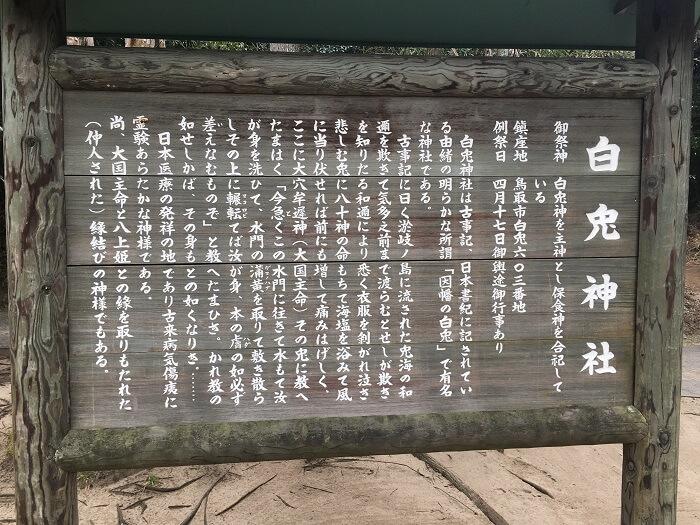 白兎神社境内の説明